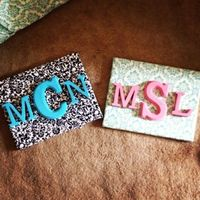 Scrapbook paper to cover the canvas, then wooden letters for the monogram. Love it!