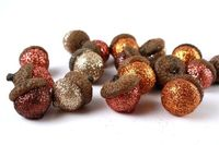 glitter acorns with natural caps