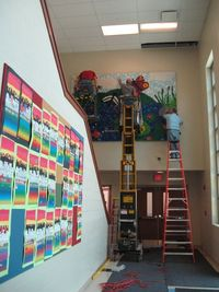 Sharpies, paint, and paper! Oh my!: Going Up!! Installation of Bottle Cap Mural