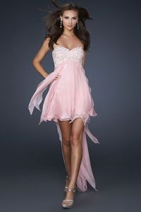 Strapless Pink Beaded High Low Draped Prom Dress