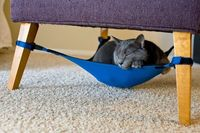 Cat Crib, A Hammock For Cats That Fits Inconspicuously Under a Chair