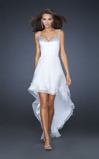 White Sequin Top Spaghetti Strap High Low Prom Dress