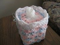 Baby Shells and Ribbon Tissue Box Cover free crochet pattern