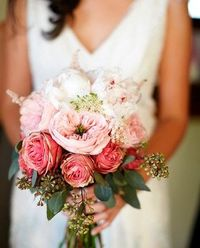 soft and lovely Pink and white garden rose bouquet