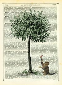 Tree with a Cat chasing a Butterfly. Tinker Prince