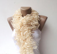 knit,scarf women hand knitted ruffled scarf