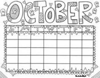 October - Calendar Coloring Pages