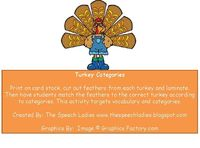 The Speech Ladies: Thanksgiving Freebie-Turkey Categories. Pinned by SOS Inc. Resources