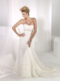 Fashionable strapless empire waist tulle wedding dress