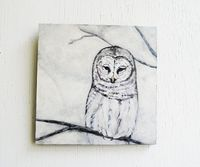 Snow Owl. Painting. 6x6 Nature Symbols. Winter. Original Art. Home Decor. White. Neutral. $80.00, via Etsy.