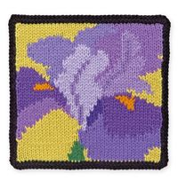 "Knit Floral Block: Iris (free charted pattern from the book ""75 Floral Blocks to Knit"")"