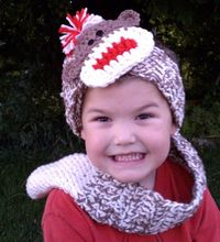 Sock monkey scarf/headband. Find at shop.snappy-tots.com