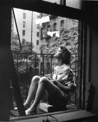 Nina Leen - Napping. On the balcony. New York. Fifties.