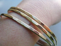 Gold Bangles Hammered and Brushed