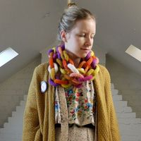 Autumn Colour Hand Knitted Felted Wool Chain Scarf
