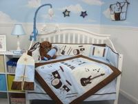 SoHo Blue and Brown Rock Band Baby Crib Nursery Bedding Set 13 pcs