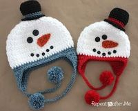 Repeat Crafter Me: Crochet Snowman Hat Pattern