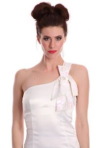 White One Shoulder Strap Sequin Detailing Bow Accent Chic Dress