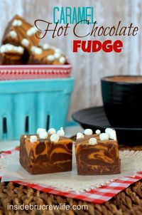 Caramel Hot Chocolate Fudge - hot chocolate fudge layered with caramel fudge and topped with mini marshmallow bits