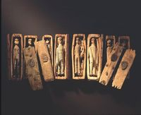 Mysterious~ In June 1836 five young boys, hunting for rabbits on the north-eastern slopes Arthur's Seat, Edinburgh, found 17 miniature coffins hidden inside a cave. They were arranged under slates on three tiers, two tiers of eight and one solitary co...