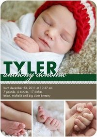 Winter Boy Birth Announcements Standout Spots - Front : Spruce Green
