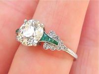 Vintage engagement ring with emeralds...Beautiful