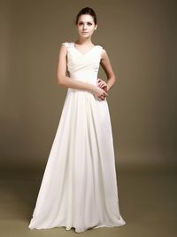 Cowl Neck Chiffon Bridal Gown with Beaded Shoulder Strap