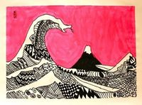 rd-6th grade students learned about the history behind Hokusai's Great Wave wood block print. We talked about the significance of Mt. Fuji in the background and what it must have been like to be on one of the three boats. Then, using the Great Wave as...